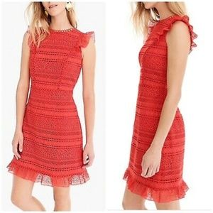J.CREW Cap Sleeve Ruffle Lace Dress in Bright Ceri